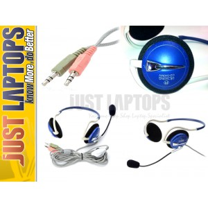 Discong Neckband headset headphone  Blue and White