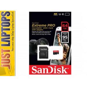 64GB Sandisk Extreme Pro - MicroSD UHS-I Card 95/90MBps R/W Lifetime Warranty