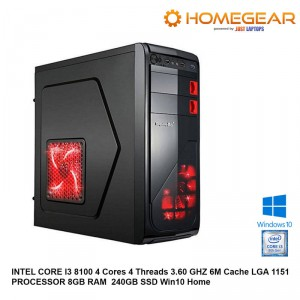 HOME PC INTEL Coffee Lake I3 8100 4 Cores 3.6 GHZ 8GB 240GB SSD HDD Win10
