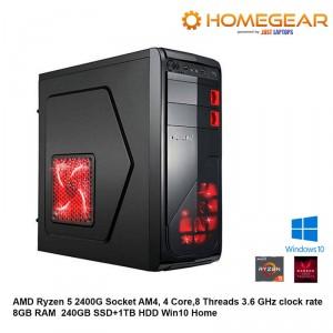 AMD Ryzen 5 2400G 4 Core,8 Threads 3.6 GHz  8GB RAM  240GBSSD+1TB HDD win10 Home