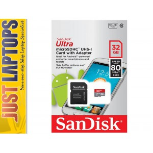 32GB SanDisk Ultra Micro SDHC Memory Card Class 10 UHS-I Up to 80MB/s read speed
