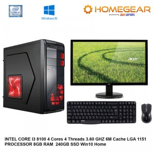 HOME PC INTEL I3-8100 4 CORE 8GB 240GBSSD HDD WITH MONITOR AND KM