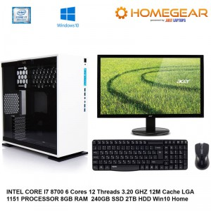 HOME PC INTEL I7 8700 6 CORES 8GB 240GBSSD + 2TB HDD WITH MONITOR AND KM