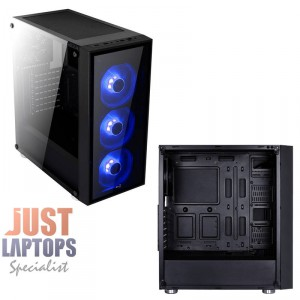 AEROCOOL QUARTZ BLUE Mid Tower Tempered Glass Side Panel - 3x Blue Fan Included