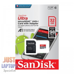 SanDisk Ultra microSD microSDHC Class 10 UHS-I 98MB/s 32GB w/ SD Card Adapter