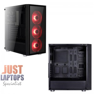 AEROCOOL QUARTZ RED Mid Tower Tempered Glass Side Panel - 3x Red Fans Included